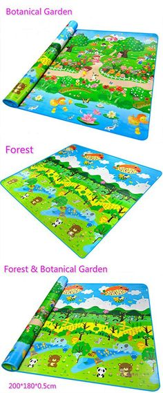 Sytian 200*180*0.5cm Large Size & Non-slip & Waterproof & Eco-friendly & Double Sides Baby Care Play Mat / Kids Crawling Mat / Playing Pad / Game Mat for Indoor and Outdoor Use (Forest & Botanical Garden)