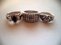 Lot of three rings sterling silver sz 6 blue stone *pretty vintage rings*