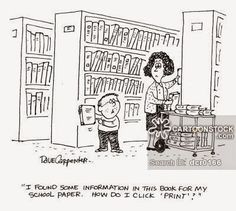 CartoonStock - 'I found some information in this book for my school paper. How do I click 'print'? I Love Books, Books To Read, My Books, This Book, Library Memes, Library Quotes, Librarian Humor, Teacher Librarian, Reading Library