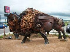 Picture of John Lopez buffalo sculpture taken by a member of Lorelei James' James Gang. Metal Art Sculpture, Outdoor Sculpture, Modern Sculpture, Outdoor Art, Lion Sculpture, Welding Art, Welding Projects, Marble Carving, Scrap Metal Art