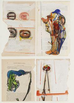DADO (1933-2010) Sans titre, 1990 Quatre pages imprimées rehaussées au crayon et à l'aquarelle dans un même encadrement. Chaque signé et daté. À vue : 61 x 41 cm la feuille (chaque 23 x 14 cm)