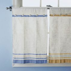 tea towel cafe curtains - make these cafe curtains in a couple of hours. fold the tops of vintage towels over so the bottoms just skim the windowsill. sew or fuse the folded layers to create a casing. attach buttons across the seam and thread a curtain rod through the casing.  [might want to take time to iron first]