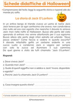 Schede Didattiche di Halloween per la Scuola Primaria | PianetaBambini.it Halloween Worksheets, English Activities, English Tips, Learning Italian, Printable Worksheets, Primary School, School Days, Fun Facts, Improve Yourself