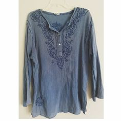 Free People Blue Embroidered Tunic This top is in great condition. Unfortunately the tag frayed off so I am not 100% this is from free people, please confirm if you know!! Feel free to ask any questions.       *small white stain on shoulder (hardly noticeable) I'll post a pic if you want to see ! Free People Tops Tunics