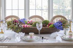 Winter Table: Vintage Dishes with a Dough Bowl Centerpiece | Designthusiasm.com