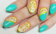 Check out these turquoise tips, accented with juicy lemon slices. Peep these and more of our favorite nail looks here. Funky Nail Designs, Gel Nail Designs, Nails Design, Art Designs, Glitter Nail Polish, Acrylic Nails, Nail String Art, Nail Art, Lime Nails