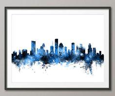 Houston Skyline Houston Texas Cityscape Art Print 2153 by artPause