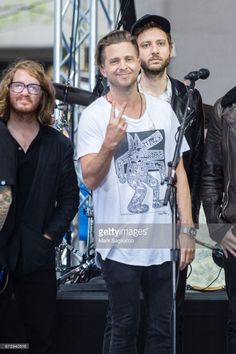 Guitarist Drew Brown (L) and Singer Ryan Tedder of One Republic performs On NBC's 'Today' Show at Rockefeller Plaza on May 2, 2017 in New York City.