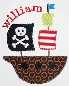 Pirate ship birthday applique, appliquebebe.com