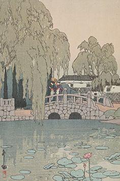 """Japanese Art Print """"Willow Tree and Stone Bridge (Yanagi ni Ishi-Bashi)"""" by Yoshida Hiroshi. Shin Hanga and Art Reproductions http://www.amazon.com/dp/B010VDJUGA/ref=cm_sw_r_pi_dp_mKVvwb189JTQT"""