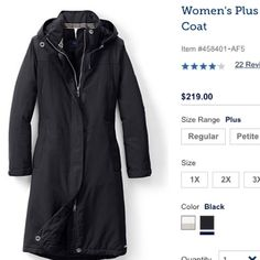 Land's End Plus Size Squall Stadium Coat LANDSEND SQUALL STADIUM COAT FEATURES Waterproof, windproof nylon shell is durable, breathable. Sealed seams prevent rain, snow, sleet from getting in. Soft ThermaCheck®-300 fleece lining in the top half adds softness where it counts. 150-gram insulation in the lower body and sleeves adds extra warmth. Hidden 2-way zipper closure w/ rip-grip storm flap. Drawcord waist adds shape. Designed with a bit of xtra moving room for comfort. Below knee. I'm…