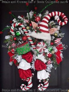 "Christmas Wreath-Door Decoration ""ThE CaNdY CaNe ElF"""