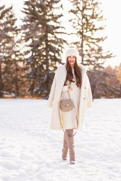 Autumn / Winter 2019 Lookbook: Winter Whites   Top Fall / Winter 2019 / 2020 Trends   Top Winter 2019 Trends and How to Wear Them   Brunette woman wearing a Mango Oversized Cream Teddy Coat, Cream Cable Knit Sweater Dress, Grey Over The Knee Boots and Grey Chloe Tess Dupe   Monochromatic Cream / White Outfit   Festive Winter Holiday Outfit   Christmas Dinner Outfit   Canadian Winter Outfit Ideas   Fenty Stunna Lip Paint in Uncensored   Top Calgary Fashion & Lifestyle Blogger // JustineCelina.com Winter Fashion Outfits, Holiday Outfits, White Christmas Outfit, Cable Knit Sweater Dress, Calgary, Winter Dresses, Dress Winter, Outfit Winter, Winter Holiday