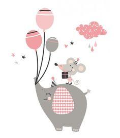 Vinilo infantil Elefante ratón rosa