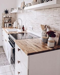 A white or black stove top cover in this quaint kitchen would add more countersp. A white or black stove top cover in this quaint kitchen would add more counterspace. Click the photo to find one cus Home Decor Kitchen, Kitchen Interior, New Kitchen, Home Kitchens, Kitchen Dining, Open Shelf Kitchen, Bohemian Kitchen Decor, Eclectic Kitchen, Cute Kitchen