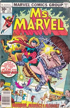 Comics - Ms. Marvel 10 - MARVEL COMICS - Vintage Bronze Age (1978) - Starring Carol Danvers, Chris Claremont Story, Current Captain Marvel