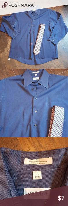 Dress Shirt 8.2/10 condition see last pic.. has a spot at very bottom of shirt???? Made in El Salvador Higher End of VanHeusen Van Heusen Shirts Dress Shirts