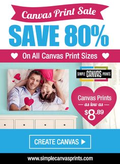Want a one-of-a-kind Valentine's Day gift?! Get some sweet art for your sweet heart with this amazing offer from Simple Canvas Prints.