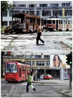 Then and now: Skenderia square, Sarajevo (1993 & 2012)