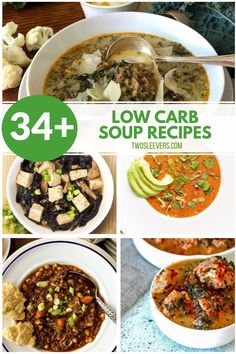 Enjoy an easy keto meal with a nice selection of comforting low carb soups made easy in your Instant Pot or on your Stovetop. Low Carb Soups | Keto Soups | Easy Soup Recipes | Soup Recipes | Instant Pot Soup | TwoSleevers | #LowCarbSoups #KetoSoups #EasySoupRecipes #SoupRecipes #InstantPotSoup #TwoSleevers Kale And Bean Soup, Sausage And Kale Soup, Italian Sausage Soup, Spicy Cauliflower Soup, Pork Soup, Hot And Sour Soup, Ham And Beans, Vegetarian Cookbook, Easy Soup Recipes