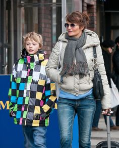 Helena Christensen Photos - Helena Christensen and her son Mingus Lucien Reedus are seen out and about in the West Village neighborhood of New York City. Helena was carrying a wheeled backpack. - Helena Christensen and Son Stroll in the West Village