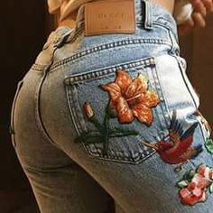f268772ba5041 These Gucci embroidered jeans are worn by Erika Kanoelani.