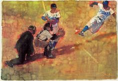 "Jackie Robinson steals home, illustration for an SI story ""No Return"" by Bernie Fuchs."