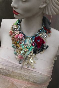 Baroque fantasy necklace bold  hand embroidered  bohemian