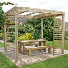 Contemporary Pergola with 4 Slatted Panels