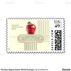 Teacher Appreciation Week Postage Stamps .Matching cards, postage stamps and other products available in the Business / Occupation Specific / Education, Childcare Category of the Mairin Studio store at zazzle.com