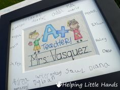 Signed Mat w/ Faux Embroidery - Teacher Gift from the Whole Class