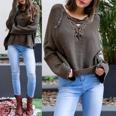 Lace Up High Low Knitted Sweater