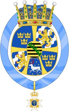 The Coat of arms as Princess of Sweden of Princess Sibylla of Saxe Coburg-Gotha, the second child of Charles Edward. She is the mother of King Carl XVI Gustaf of Sweden. Queen Eleanor, Cosmic Art, Medieval, Swedish Royalty, Princess Alice, Princess Victoria, Ferdinand, Coat Of Arms, Herb