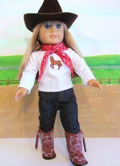 Amazon.com: Cowgirl Cowboy Western Outfit ~18 Inch Doll Clothes For American Girl HAT,BOOTS,JEANS,BANDANA,HORSE SHIRT !!!!: Toys & Games