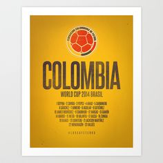 1cff25797 Colombia World Cup 2014 Celebrative Artwork Art Print by The Soccer Supply