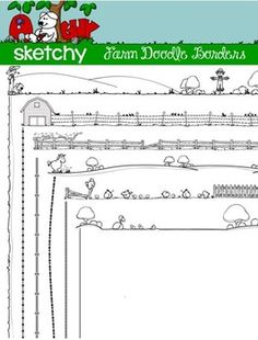 Farm Themed Doodle Border / Frame 6 Hand Drawn / Free Hand Transparent Borders 12 Items Total. $