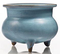 A lavender-blue 'Jun' tripod censer, Jin-Yuan dynasty Ceramic Cups, Ceramic Art, Pottery Vase, Ceramic Pottery, Chinese Ceramics, Lavender Blue, Bone Carving, Art Auction, China
