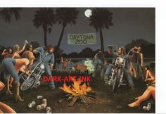 David Mann moto Poster Art Daytona Zoo Sturgis par darkartink
