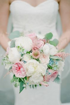 Pink peony and rose wedding bouquet: Photography : Brklyn View Photography | Reception Venue : Mamaroneck Beach and Yacht Club | Floral Design : Violet and Verde Read More on SMP: http://www.stylemepretty.com/new-york-weddings/mamaroneck-new-york/2017/02/07/these-bridal-portraits-will-have-you-craving-a-garden-wedding/