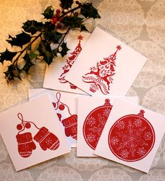 Christmas greetings card set of 3 Mittens Bauble