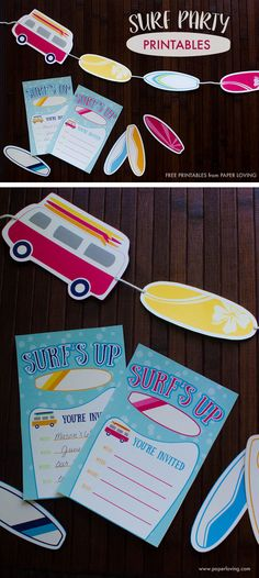 Surf party printable invitations, surf boards, and vans | www.paperloving.com