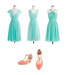 Sunwashed Aqua J Crew bridesmaids dresses with coral BC shoes