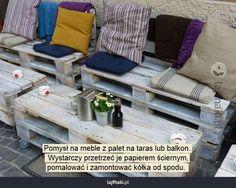 Meble na taras - Pomysł na meble z palet na taras lub balkon.  Wystarczy przetrzeć je papierem ściernym, pomalować i zamontować kółka od spodu.