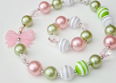 Light Green & Pink Chunky Necklace and Bracelet Set, Chunky Bead Necklace, Bubblegum Necklace, Gumball Necklace, Girl Jewelry, Baby Jewelry on Etsy, $9.50