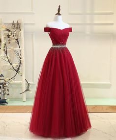 Cheap Prom Dresses Off-the-shoulder Aline Floor-length Long Prom Dress Burgundy Evening Dress JKL716