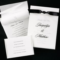 White Panel with Translucent Overlay  This elegant invitation features a translucent overlay with your names and your choice of ribbon to tie it all together! Pre-cut ribbon available in black, lavender, moss, pink, red, silver or white. Customer assembly.