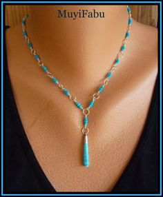 Turquoise and Sterling Silver Y Necklace
