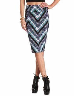 Tribal Chevron Midi Skirt: Charlotte Russe