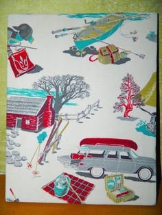 Framed Vintage Fabric decor with Camping by TrippyTrailerGear