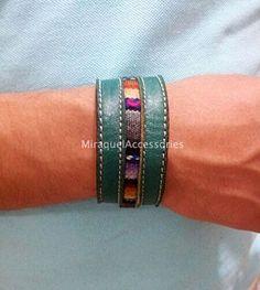 Genuine leather cuffs with peruvian manta by MiraquelAccessories